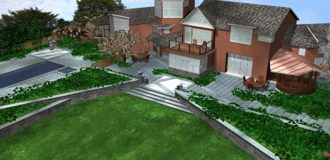 3D Pool And Patio Rendering