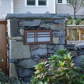 Field Stone Pillars Were Constructed To Flank A Cedar Entry Gate. Custom  Light Fixtures Were